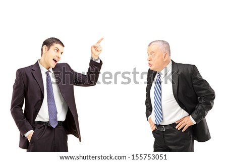 Angry business colleagues during an argument isolated on white background - stock photo