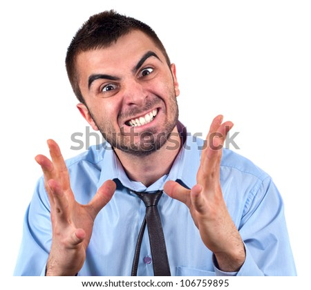 Angry business man expressing frustration, portrait of young handsome businessman, concept of executive yelling,conversation problem communication crisis,anger,frustration.Isolated on white background - stock photo