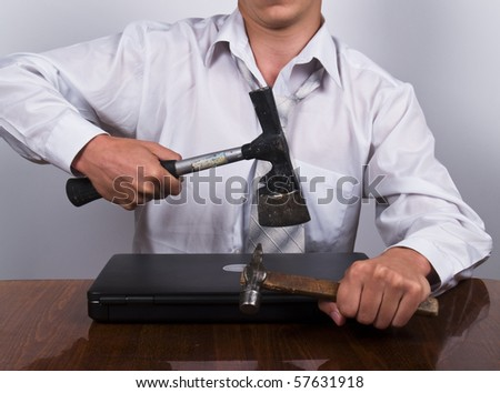 angry business man has problem - stock photo