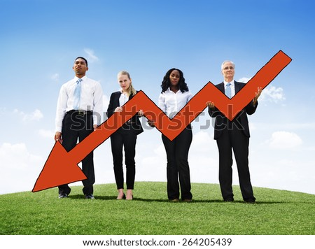 Angry Business Man Outdoors Holding Declining Line Graph Concept - stock photo