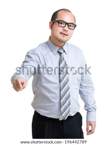 Angry business man point at front - stock photo