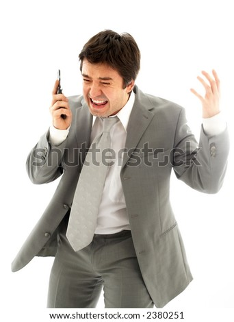 angry business man with cellular phone over white - stock photo
