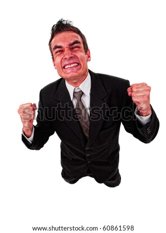 Angry business man with red exploding face, isolated on white - stock photo