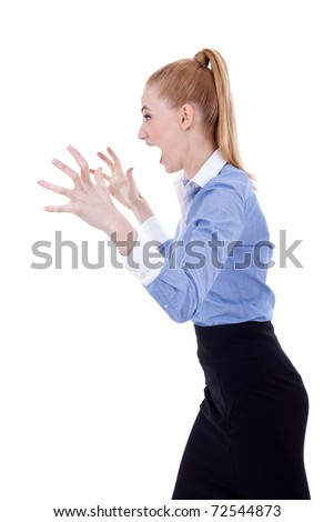 Angry business woman portrait isolated over a white background - stock photo