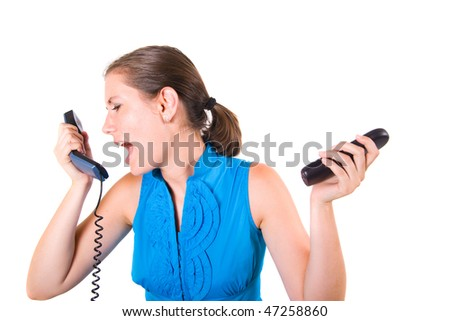 Angry business woman screaming into phones - stock photo