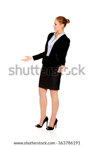 Angry business woman talking with someone - stock photo