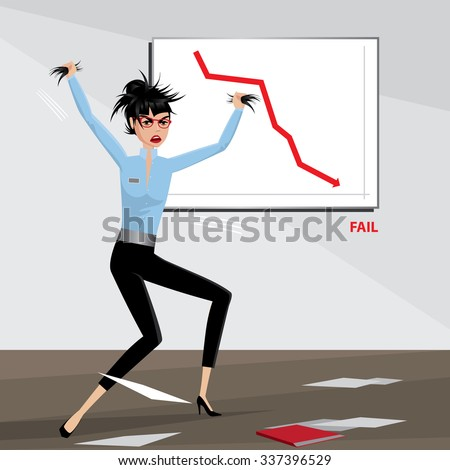 Angry business woman tears her hair out | Fail concept | raster version - stock photo