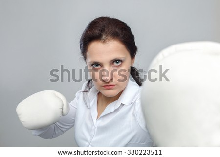 angry business woman wearing box gloves