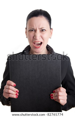 Angry business woman with folder - stock photo