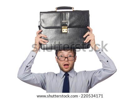 Angry businessman isolated on the white - stock photo