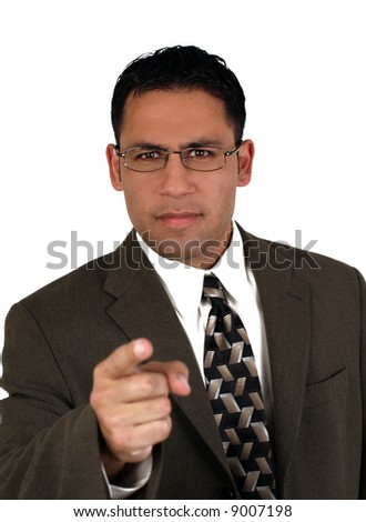 Angry businessman isolated on white - stock photo