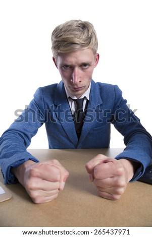 angry businessman on white background - stock photo
