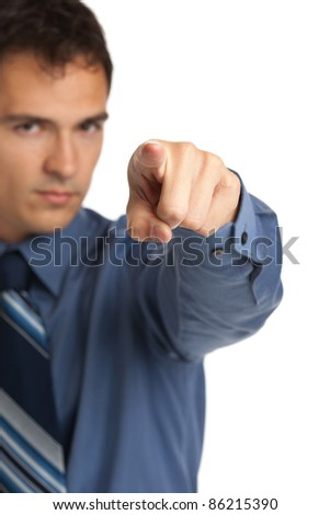 Angry Businessman Pointing Finger on Isolated Background