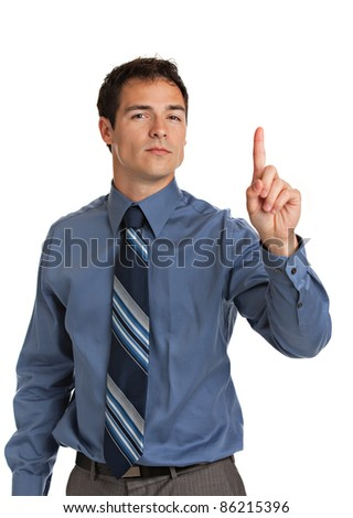 Angry Businessman Pointing Finger on Isolated Background - stock photo