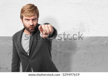 angry businessman pointing front