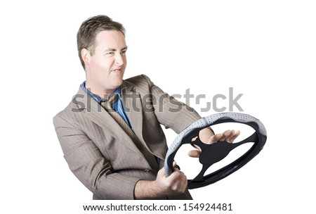 Angry Businessman Pressing Horn On Steering Wheel Over White Background - stock photo