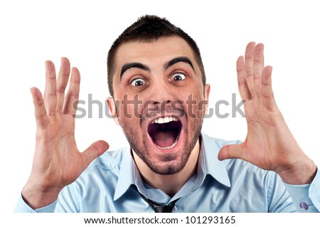 Angry businessman screaming out loud, portrait of young handsome businessman, concept of executive yelling, conversation problem communication crisis,anger,frustration.Isolated on white background - stock photo