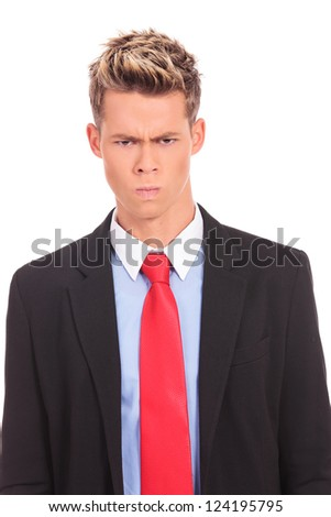 angry businessman , serious man isolated on white - stock photo