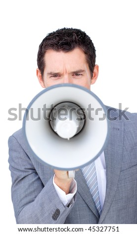 Angry businessman shouting through a megaphone against a white background - stock photo