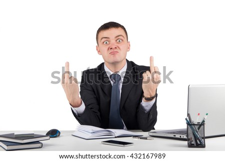 Angry businessman showing you the middle fingers isolated on white background - stock photo