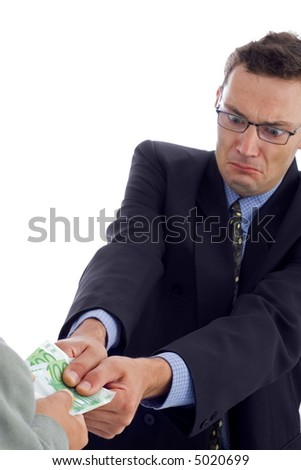 Angry businessman struggling to take the money
