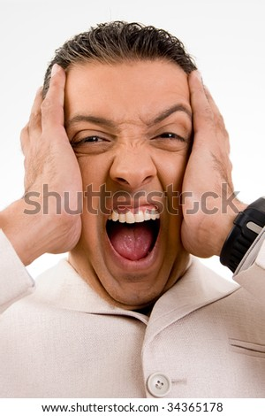 Angry businessman yelling - stock photo