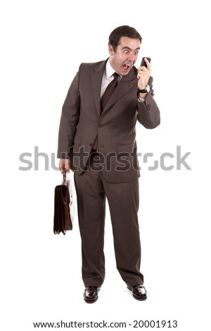Angry businessman yelling loud on the phone - stock photo