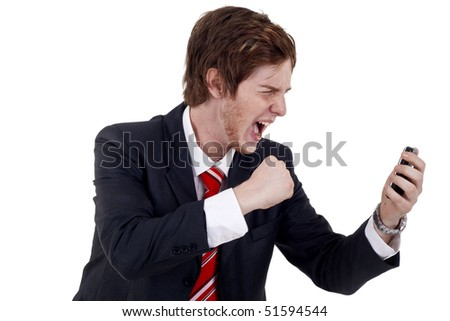 Angry businessman yelling on the phone over white - stock photo