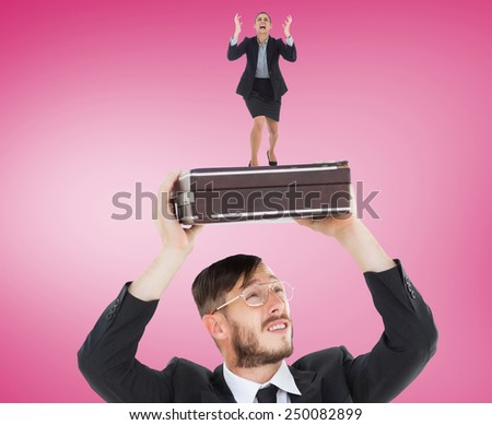 Angry businesswoman gesturing against pink vignette - stock photo