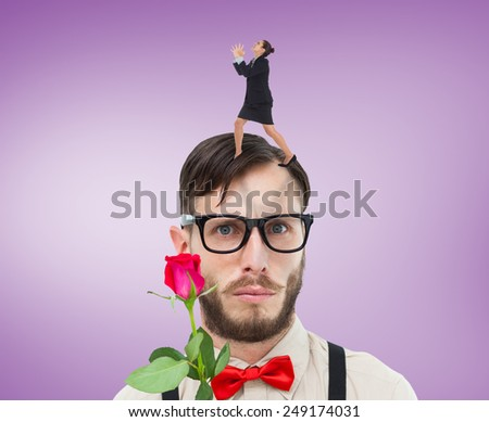 Angry businesswoman gesturing against purple vignette - stock photo