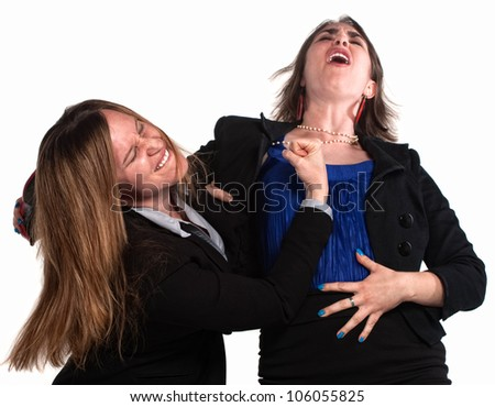 Angry businesswoman in a fist fight over white background - stock photo