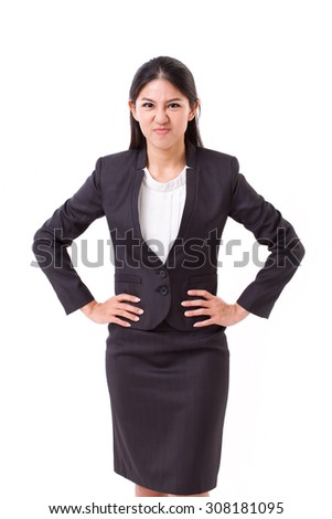 angry businesswoman isolated - stock photo