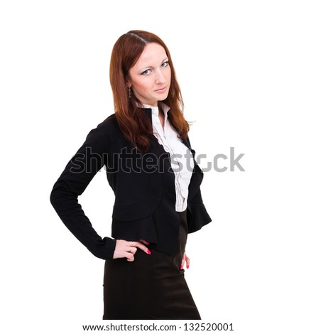 Angry businesswoman isolated. Image of business woman upset looking at the camera. Isolated on white background. - stock photo