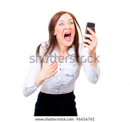 Angry businesswoman screaming on a cell phone - stock photo