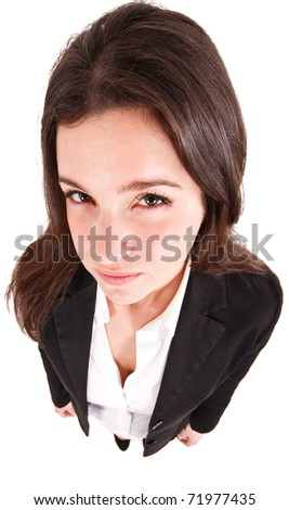 Angry businesswoman shot with a wide angle lens isolated on white - stock photo