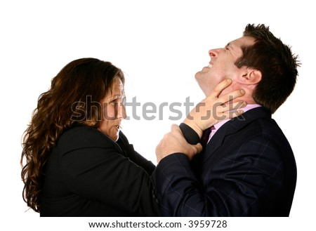 Angry businesswoman strangling a helpless businessman, isolated on white.