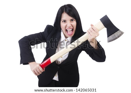 Angry businesswoman with axe on white - stock photo