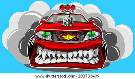 Angry car - stock photo