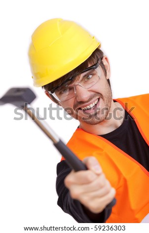 angry carpenter hitting with the hammer on white background