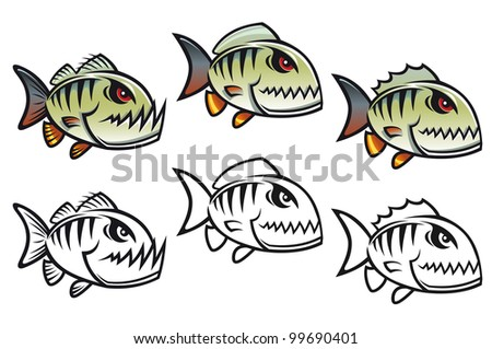 Angry cartoon piranha fish in three variations isolated on white backgrounds - stock photo