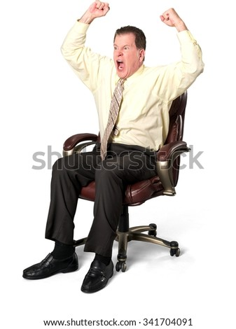 Angry Caucasian elderly man with short medium brown hair in business casual outfit with arms open - Isolated