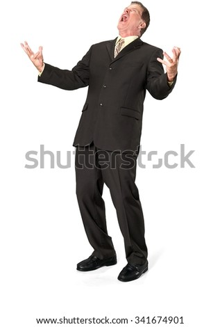 Angry Caucasian elderly man with short medium brown hair in business formal outfit talking with hands - Isolated - stock photo