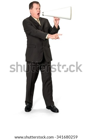 Angry Caucasian elderly man with short medium brown hair in business formal outfit using megaphone - Isolated