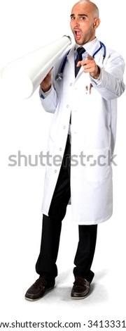 Angry Caucasian man in uniform using megaphone - Isolated - stock photo