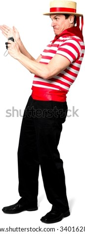 Angry Caucasian man with short black hair in costume using camera - Isolated - stock photo