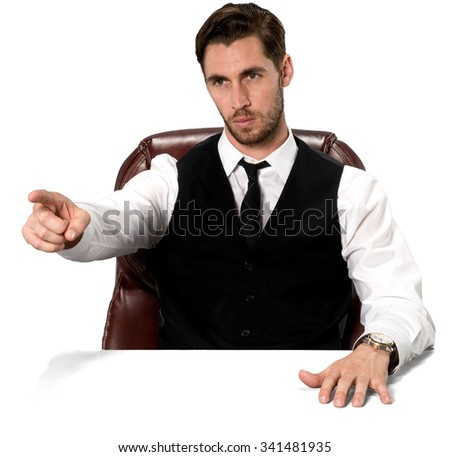 Angry Caucasian man with short dark brown hair in business casual outfit pointing using finger - Isolated - stock photo