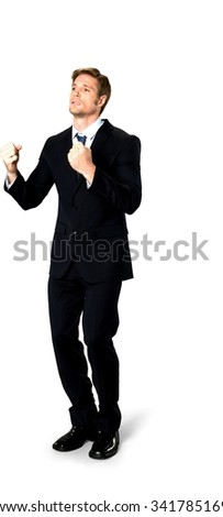 Angry Caucasian man with short medium blond hair in business formal outfit begging - Isolated