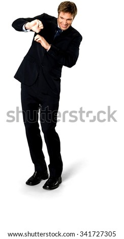 Angry Caucasian man with short medium blond hair in business formal outfit defending with body - Isolated
