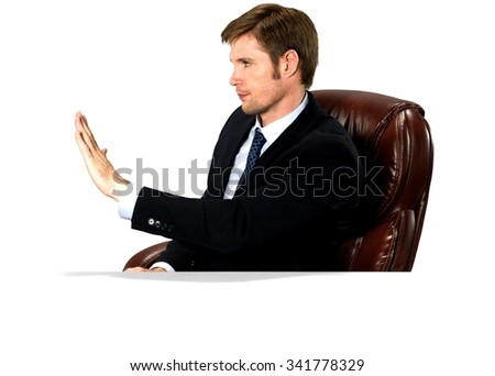 Angry Caucasian man with short medium blond hair in business formal outfit showing stop hand - Isolated - stock photo