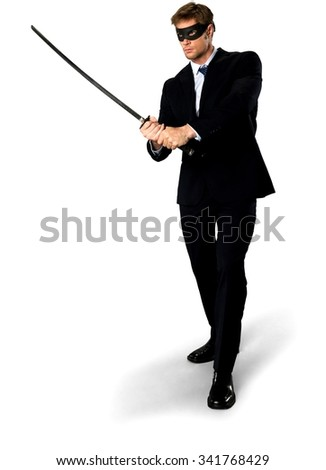 Angry Caucasian man with short medium blond hair in business formal outfit using mask - Isolated